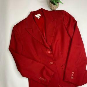 Neiman Marcus Red Wool Two Button Blazer Sz 6